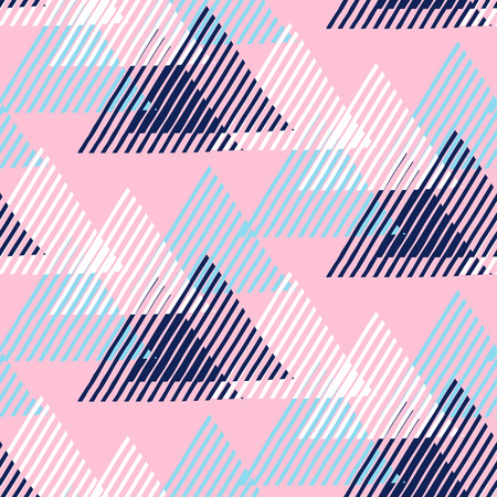 funky background: Vector seamless geometric pattern with striped triangles, abstract dynamic shapes in blue, pink, white colors. Hand drawn funky background with lines in 1990s fashion style. Modern tech textile print. Illustration
