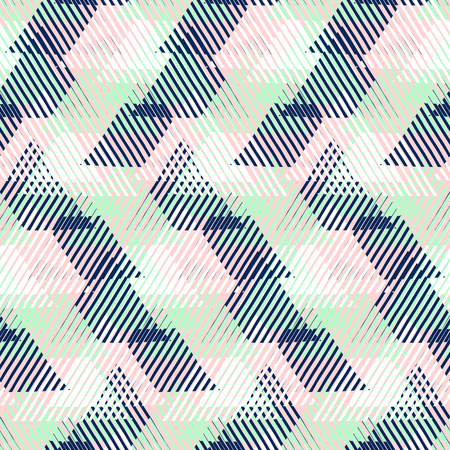 fall fashion: Vector geometric seamless pattern with lines and triangles in pastel mint, pink, blue colors. Striped modern bold print in 1980s style for summer fall fashion. Abstract techno chevron background