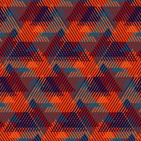 motivos navideños: El diseño moderno de papel de envoltura de regalo de Navidad con la mirada de tweed, líneas cruzadas, triángulos, pirámides y formas abstractas. patrón de leñador en colores rojos. enrrollado de impresión en negrita en el estilo del arte de Op de la moda de invierno