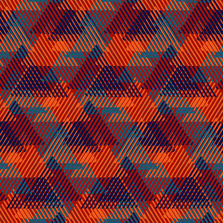 Modern Christmas gift wrapping paper design with tweed look, cross lines, triangles, pyramids and abstract shapes. Lumberjack pattern in red colors. Bold funky print in op art style for winter fashion Ilustração