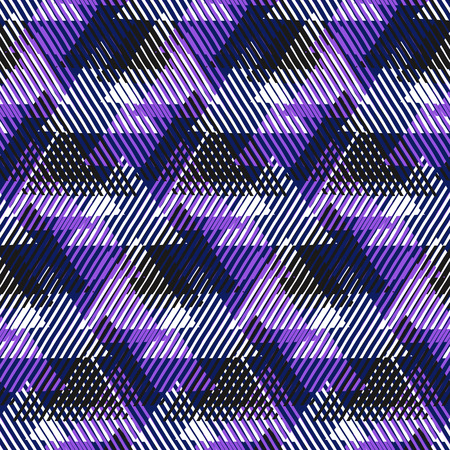 Vector geometric seamless pattern with lines, triangle, pyramids in black, white, deep violet colors. Striped modern bold print in 1980 style for summer fall fashion. Abstract tech chevron background