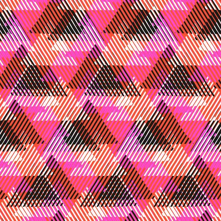 fall fashion: Vector geometric seamless pattern with lines, triangle, pyramids in black, white, pink, orange colors. Striped modern bold print in 1980 style for summer fall fashion. Abstract tech chevron background