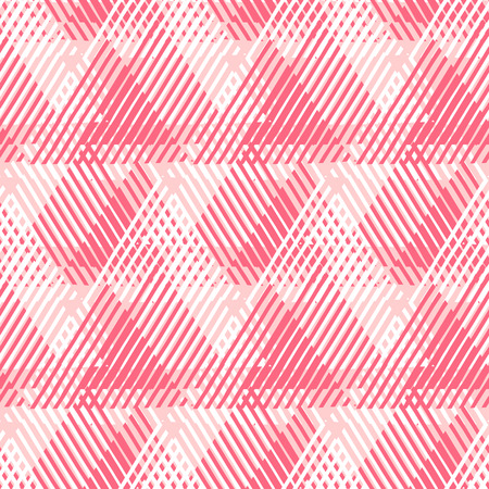 Vector seamless geometric pattern with striped triangles, abstract dynamic shapes in bright pink color. Hand drawn background with overlapping lines in 1980s fashion style. Modern textile print