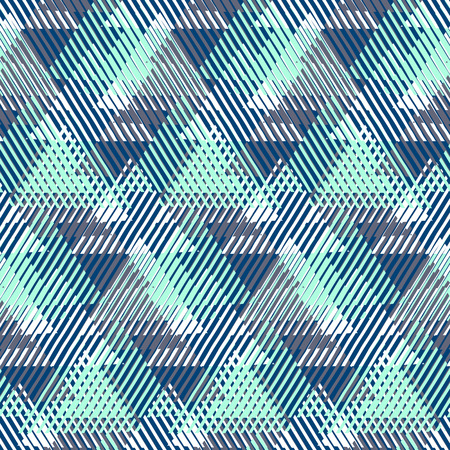 edgy: Vector seamless geometric pattern with striped triangles, abstract dynamic shapes. Hand drawn background with overlapping lines in 1980s fashion style. Modern textile print in pastel green blue color