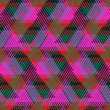 motivos navideños: patrón geométrico sin fisuras con triángulos rayados, formas dinámicas abstractas en verde brillante, colores rojos. Mano de fondo dibujado con líneas de estilo de la moda de 1980 se superponen. impresión textil moderna
