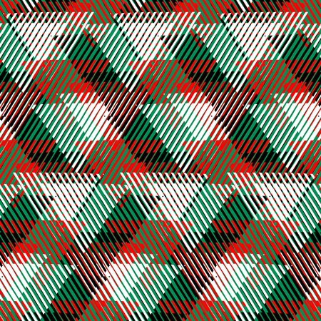 Vector seamless geometric pattern with striped triangles, abstract dynamic shapes in bright green, red colors. Hand drawn background with overlapping lines in 1980s fashion style. Modern textile print Illustration