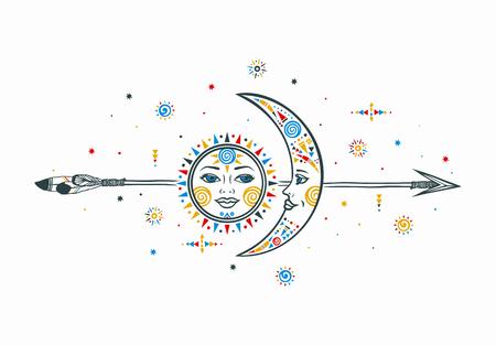 Zon maan pijl illustratie. Etnische zon. Etnische maan. Vector maan zon met pijl. Tribal etnische maan zon. Azteekse zon maan. Boho hand getekende maan zon. Etnische symbool zon maan. Maan teken. Zon gezicht teken.