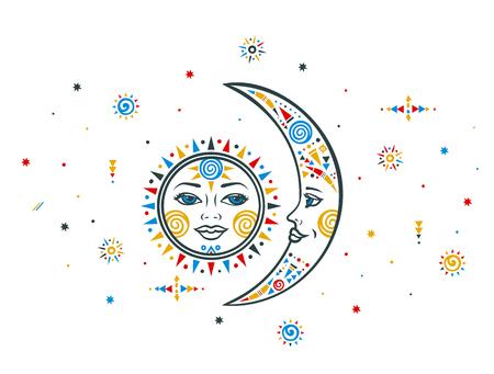 일 달입니다. 민족 일 민족 달. 보헤미안 태양 달. 벡터 달 태양. 부족 민족 달 태양. 아즈텍 태양의 달입니다. 보헤미안 손으로 달이 태양을 그려. 민족  일러스트