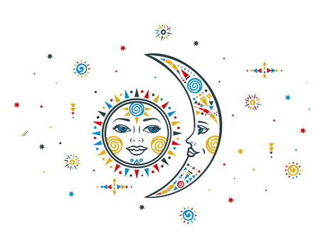 słońce: Sun moon illustration. Ethnic sun. Ethnic moon. Bohemian sun moon. Vector moon sun. Tribal ethnic moon sun. Aztec sun moon. Boho hand drawn moon sun. Ethnic symbol sun moon. Moon sign. Sun face sign.