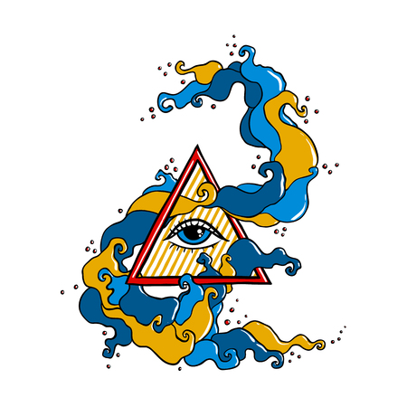 conspiracy: Eye of Providence sign. Masonic symbol. All seeing eye in triangle pyramid. New World Order. Hand drawn alchemy, religion, spirituality, occultism. Isolated vector illustration. Conspiracy theory. Illustration