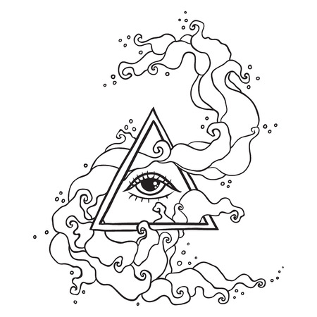 kabbalah: Eye of Providence sign. Masonic symbol. All seeing eye in triangle pyramid. New World Order. Hand drawn alchemy, religion, spirituality, occultism. Isolated vector illustration. Conspiracy theory. Illustration