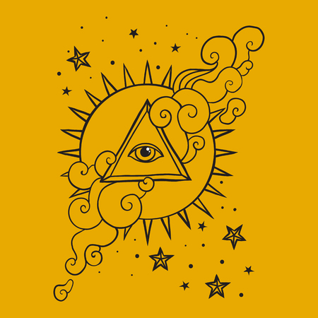 pyramid of the sun: Eye of Providence sign. Masonic symbol. All seeing eye in triangle pyramid over sun and clouds. Hand drawn concept of alchemy, spirituality, occultism, ancient. Sacred geometry vector illustration