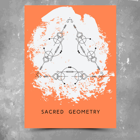 alchemist: Vector geometric alchemy symbols with phrases on hand drawn background with splash of orange paint. Abstract occult and mystic signs.