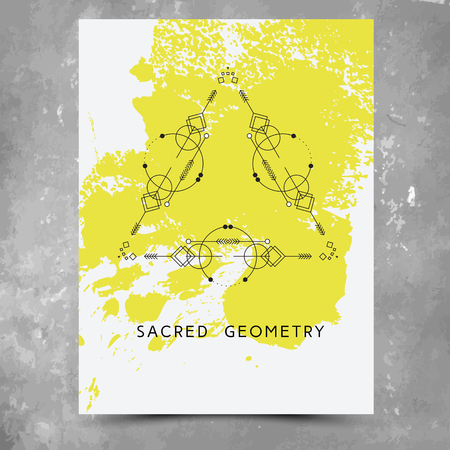 Vector geometric alchemy symbols with phrases on hand drawn background with splash of yellow paint. Abstract occult and mystic signs.