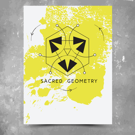alchemist: Vector geometric alchemy symbols with phrases on hand drawn background with splash of yellow paint. Abstract occult and mystic signs.