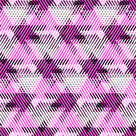 nineties: Vector seamless geometric pattern with striped triangles, abstract dynamic shapes in black white and pastel pink colors. Hand drawn background with lines in 1990s fashion style. Modern textile print.
