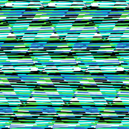Vector seamless geometric pattern with striped triangles, abstract diagonal shapes in bright green color. Hand drawn background with overlap lines in 1980s fashion style. Modern funky textile print Illustration