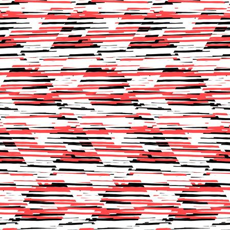 animal print: patrón geométrico sin fisuras con triángulos de rayas diagonales, formas abstractas en color rojo blanco y negro. Mano de fondo dibujado con líneas de solapamiento en el estilo de la moda 1980. estampado de un tejido original y moderno, Vectores
