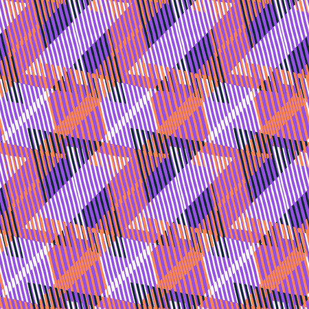 Vector geometric seamless pattern with tech line and zigzags in pink orange violet colors. Striped modern bold print in 1980s retro style for summer spring fashion Abstract techno chevron background