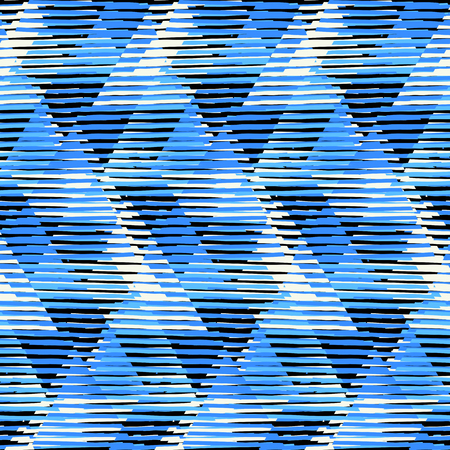 op: Vector geometric seamless pattern with tech line and zigzags in blue colors. Striped modern bold print in 1980s style. Op art stripes pattern. Abstract techno chevron background. Digital funky pattern