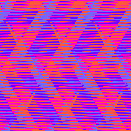 popart: Vector geometric seamless pattern with tech line and zigzags in red. Striped modern bold print in 1980s style. Op art stripes pattern. Abstract techno chevron background. Digital funky stripes pattern