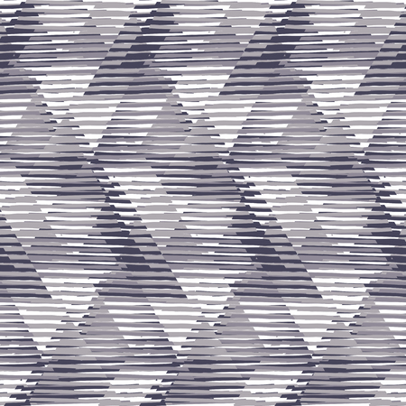 sporty: Vector seamless geometric pattern with striped triangles, abstract diagonal shapes in black and white. Hand drawn monochrome background with overlap lines in 1980s fashion style. Funky textile print
