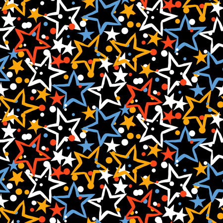 bright lights: Vector seamless pattern with bright colorful red blue stars, starburst and dots on black background. Ditsy print with fireworks and twinkle lights. Concept of birthday celebration and holiday spirit