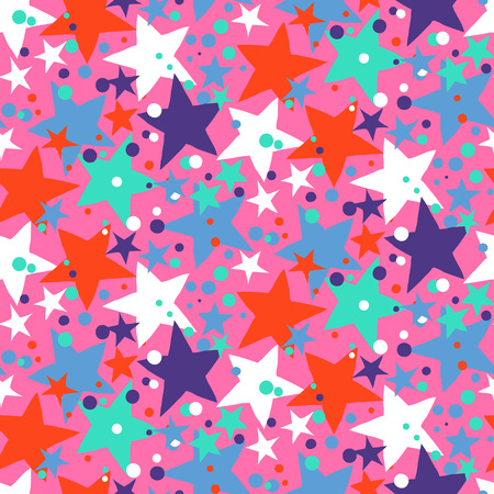 bright lights: Vector seamless pattern with bright colorful stars and dots on pink background. Fun ditsy print with night sky, constellations and twinkle lights. Concept of astrology and birthday and holiday spirit Illustration