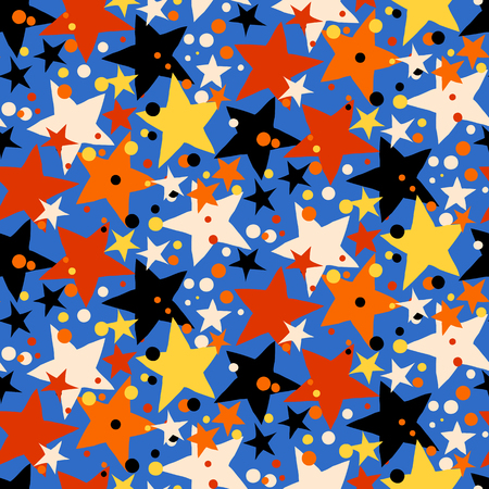 bright lights: Vector seamless pattern with bright colorful stars and dots on blue background. Fun ditsy print with night sky, constellations and twinkle lights. Concept of astrology and birthday and holiday spirit