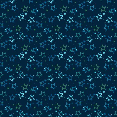 Vector seamless pattern avec des étoiles bleues lumineuses et des points sur fond noir. Fun print ditsy étoiles, constellations et les lumières scintillantes. Concept de l'astrologie et l'anniversaire et de l'esprit de vacances. motif étoile