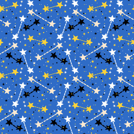 Vector seamless pattern with bright colorful stars and dots on blue background. Fun ditsy print with night sky, constellations and twinkle lights. Concept of astrology and birthday and holiday spirit
