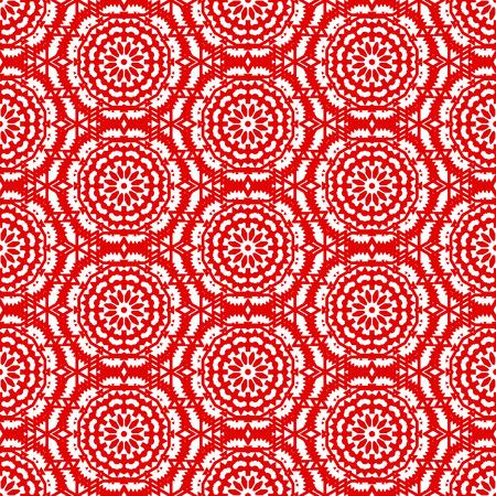 Vector ethnique modèle bohème coloré de couleur rouge vif avec de grandes fleurs abstraites. fond bohème géométrique avec l'arabe, indienne, marocaine, motifs ethniques aztèques. impression mosaïque gras avec mandalas