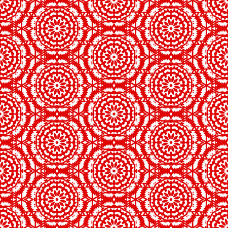 Vector ethnic colorful bohemian pattern in bright red color with big abstract flowers. Geometric bohemian background with Arabic, Indian, Moroccan, Aztec ethnic motifs. Bold mosaic print with mandalas
