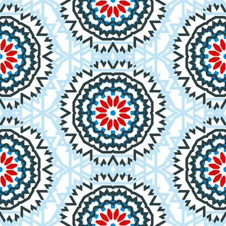 fall winter: Vector tribal colorful bohemian pattern with big abstract colorful flowers. Geometric boho chic background with Arabic, Indian, Moroccan, Aztec ethnic motifs. Bold ethnic print for fall winter fashion