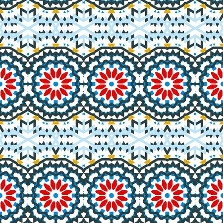 winter colors: Vector ethnic colorful bohemian pattern in bright colors with big abstract flowers. Geometric background with Arabic, Indian, Moroccan, Aztec ethnic motifs. Bold tribal print for fall winter fashion