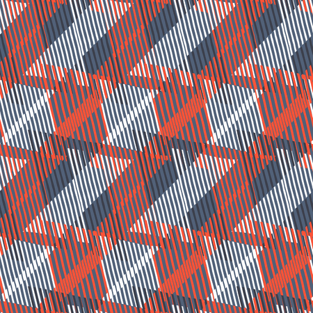 Abstract colorful pattern with stripes and geometric shapes. Seamless geometric modern print in red grey green colors. Modern textile design with dynamic tech lines for summer fall fashion. Vector
