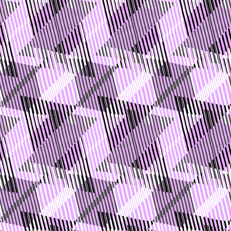 fall fashion: Abstract colorful pattern with stripes and geometric shapes. Seamless geometric modern print in bright pink black colors. Modern textile design with dynamic tech lines for summer fall fashion. Vector Illustration