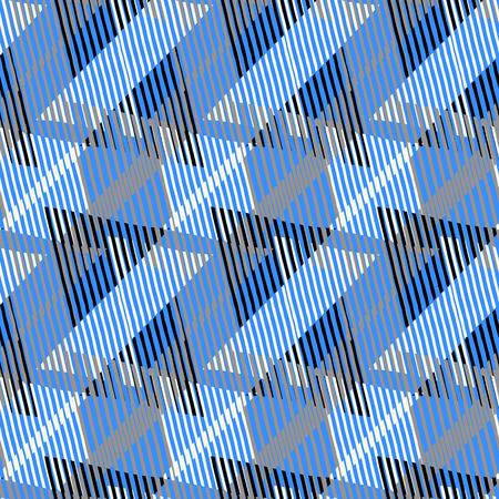 grey pattern: Abstract colorful pattern with stripes and geometric shapes. Seamless geometric modern print in bright blue grey colors. Modern textile design with dynamic tech lines for summer fall fashion. Vector Illustration