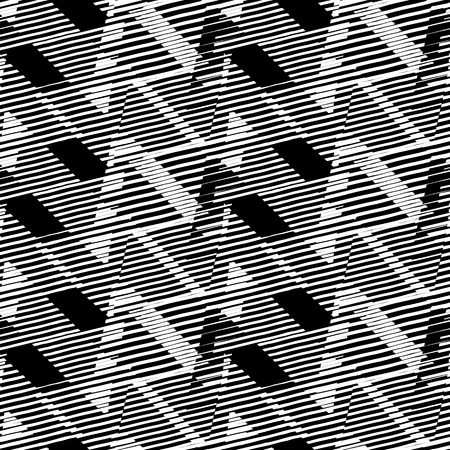 Abstract black and white pattern with stripes and geometric shapes. Seamless geometric modern print in black and white. Modern textile design with dynamic techno lines for summer fall fashion. Vector