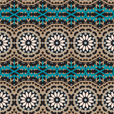 fall winter: Vector tribal colorful bohemian pattern with big abstract colorful flowers. Geometric boho chic background with Arabic, Indian, Moroccan, Aztec ethnic motifs. Bold tribal print for fall winter fashion Illustration
