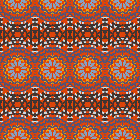 indian summer: Vector ethnic colorful bohemian pattern in bright red colors with big abstract flowers. Geometric background with Indian, Moroccan, Aztec ethnic motifs. Bold tribal print for spring summer fashion
