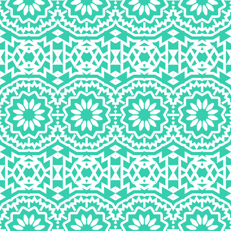 circles pattern: Vector seamless bohemian pattern with abstract big tribal flowers and stripes. Vintage style bohemian background with flourish tribal decor. Bold ethnic print with floral circles and geometric motif