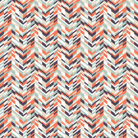spring fashion: Vector geometric seamless pattern with tech line and zigzags in funky colors. Modern bold chevron print in 1980s retro style for summer spring fashion. Abstract techno chevron background
