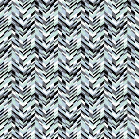spring fashion: Vector geometric seamless pattern with lines and zigzags in blue colors. Modern bold chevron print in retro style for summer spring fashion. Abstract techno chevron background with colorful blocks