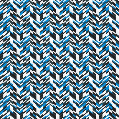spring fashion: Vector geometric seamless pattern with lines and zigzags in blue colors. Modern mosaic print in techno style for summer spring fashion. Abstract digital chevron background with small colorful blocks Illustration