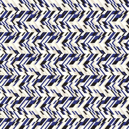 fall fashion: Vector geometric seamless chevron pattern with zigzag line and crossing stripes in vintage blue color. Striped bold print in hipster style for winter fall fashion. Abstract monochrome tech background Illustration