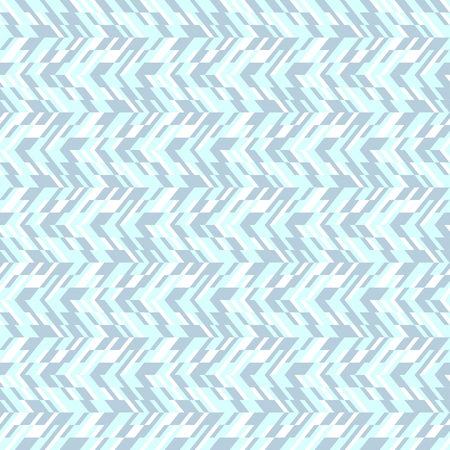 spring fashion: Vector geometric seamless pattern with lines and zigzags in blue colors. Modern abstract chevron print in retro style for summer spring fashion. Abstract techno chevron background with colorful blocks