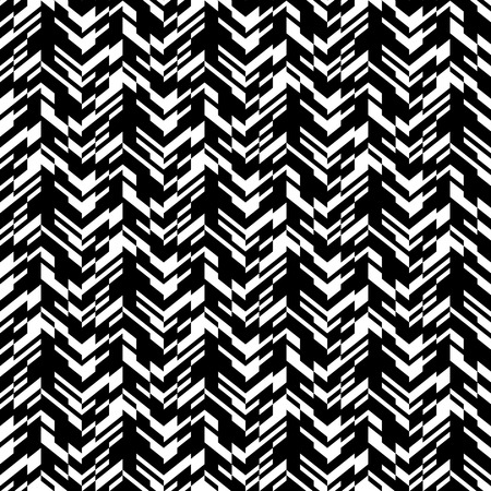 fall fashion: Vector geometric seamless chevron pattern with zigzag line and overlapping stripes in black and white. Striped bold print in hipster style for winter fall fashion. Abstract monochrome tech background