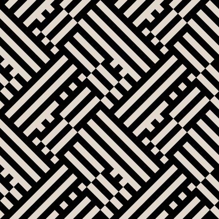 Abstract geometrische patroon met blokken, diagonale strepen overlappende en kruisende lijnen in zwart en wit. Op-art Naadloze geometrische achtergrond. Eenvoudige zwart-wit vet gedrukt voor de winter herfst mode