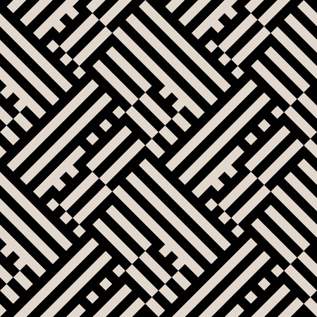 Abstract geometric pattern with blocks, diagonal overlapping stripes and crossing lines in black and white. Op art seamless geometric background. Simple monochrome bold print for winter fall fashion